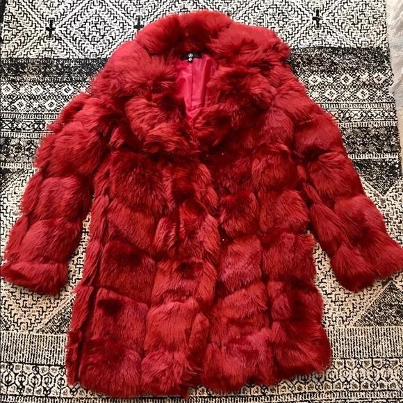 Jackets & Blazers - Red Faux Fur Coat